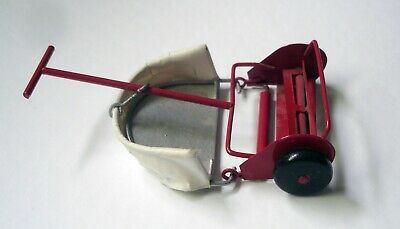 Vintage Dollhouse Miniature Metal Push Lawn Mower w/ Grass Catcher Works Great