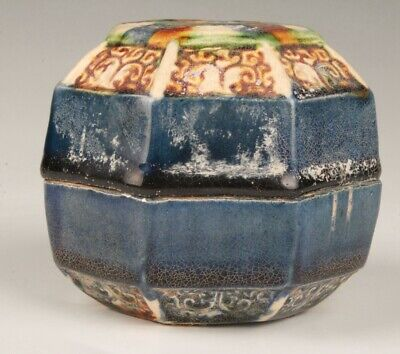 Chinese Old Ceramic Handmade Painting Flower Box Decoration Gift Collection