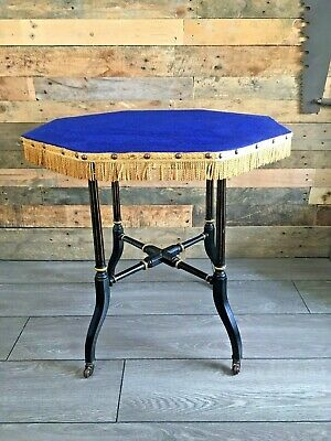 c1880 AESTHETIC MOVEMENT EBONISED & GILT TABLE OCCASIONAL CARD GAMES GYPSY SKIRT
