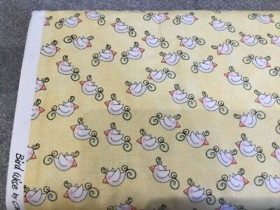 SALE, Bolt End Clearance, Yellow, Birds, Fabric, 100% Cotton, 25cm x 110cm,Craft