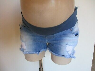 Asos Maternity Blue Ripped Denim Under Bump Jeans Shorts Size 12