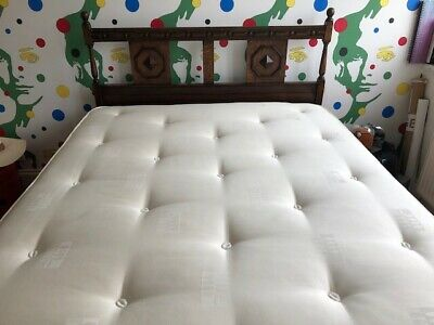 Antique Vintage 1930s/1940s 4ft Wooden Double Bedstead, sprung base and Mattress