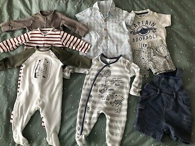 Boys' Clothing (newborn-5t) Tu Boys X 3 Long Sleeve Babygrows Up To 1 Month 9lb Strong Packing