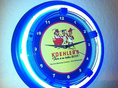Koehler's Erie Pennsylvania Beer Bar Advertising Blue Neon Wall Clock Sign