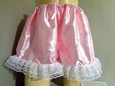 08f89239f SISSY CD FRILLY ADULT PALE PINK SATIN TAP PANTIES BLOOMER DRESS UP W 33-48