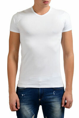 49953e5be Versace Collection Men's White Stretch V-Neck Short Sleeve T-Shirt XS S M L  XL