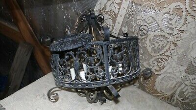 Antique Vintage Wrought Iron Cast Brass Ceiling Light Fixture Ornate Design 6 Lt