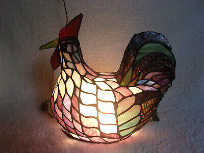 Chicken Rooster Stained Glass Night Lamp Tiffany Style Country Model 9670