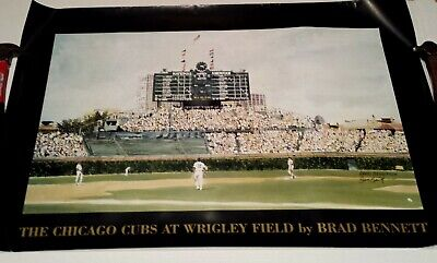 Vintage The Chicago Cubs At Wrigley Field by Brad Bennett Signed Print Poster 98