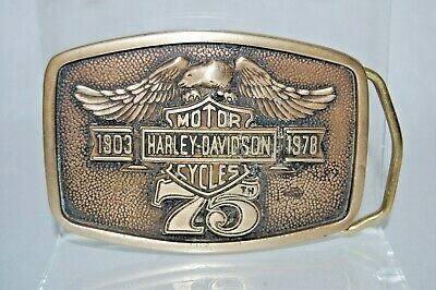VINTAGE HARLEY-DAVIDSON 1903-1978 75th ANNIVERSARY MOTORCYCLE BELT BUCKLE!
