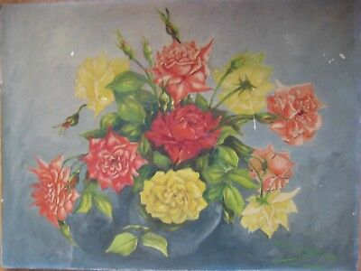 Antique Chic Shabby Pink Yellow Roses Oil Painting Vintage Old Signed Floral Nr