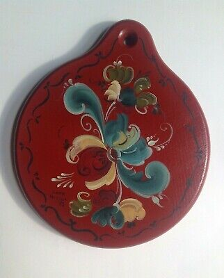 Vintage Rosemaling Norwegian Style Hand Painted Wooden Cutting Board