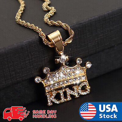 """Hip Hop Iced out Lab Diamond CROWNED KING Pendant & 3mm 24"""" Rope Chain Necklace"""