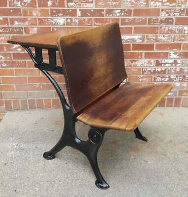 Antique Child's School Desk Oak Wood & Black Cast Iron 1920's E.W.A. ROWLES CO