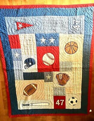 Authentic Kids 2pc Sports Football Baseball Red White Blue Twin Quilt Sham Set
