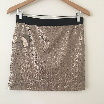 62bab79a7b Forever 21 Gold Sequined Mini Skirt Black Band Contemporary Party  Graduation S