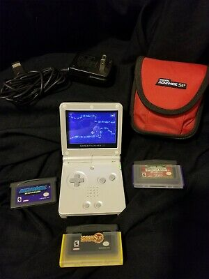 🔥🔥Nintendo Game Boy Advance SP Silver/Platinum Handheld System plus 3 games 🔥