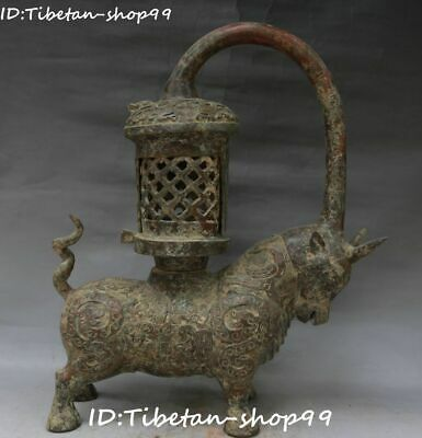 Old Bronze Ware Vessels Dragon Ox Oxen Cattle Bull Niu Cow Candle Stick Holder