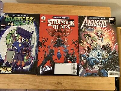 Set Of Three Free Comic Book Day Comics- Stranger Things-avengers-guardians