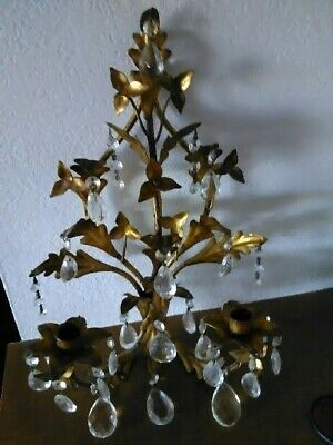 Vintage French/ Italian Gold Gilt Wall 2 Candle Holder Sconce with Crystals