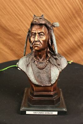 Native American Indian Chief Geronimo Bust Bronze Statue Sculpture Signed Figure