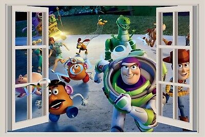 Toy Story Woody Buzz 3D Smashed Wall Sticker Decal Home Decor Art Mural J1009