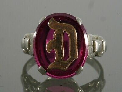 """Antique Art Deco 18k White Gold Initial """"D"""" Laboratory Ruby Signet Ring"""