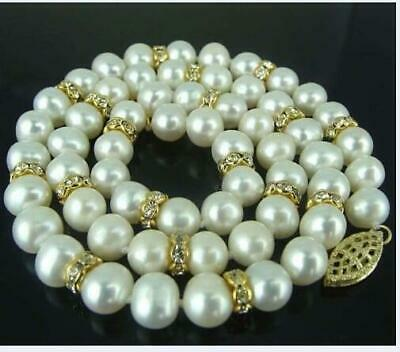 """New Huge 18"""" AAA 9-10 MM SOUTH SEA NATURAL White PEARL NECKLACE 14K GOLD CLASP"""