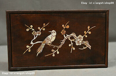 Chinese Huanghuali Wood Inlay Shell magpie plum Jewelry Box Storage boxes Statue