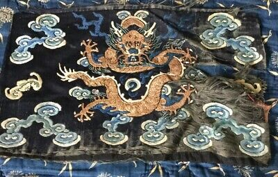19 Th Century Chinese Silk Embroidered Dragon.