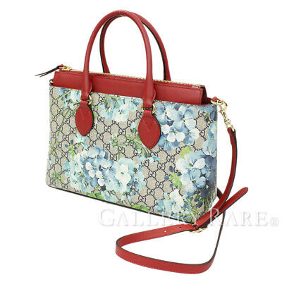 b06de41f705a GUCCI GG Blooms Leather Beige Blue Red 409534 Tote Bag Italy Authentic  5308897