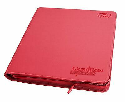 Ultimate Guard 12-Pocket QuadRow ZipFolio XenoSkin Red 480 Double-sleeved Cards