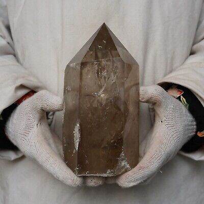"6.82LB 7.9"" Natural Smokey Clear Quartz Crystal Point Tower Polished Healing"