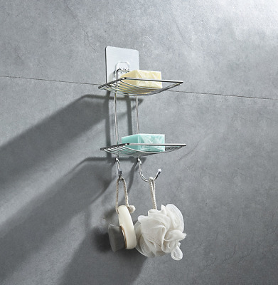 Soap Dishes Holder Wall Suction Cup Bathroom Bath Shower Stainless Steel