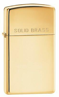 Zippo Adult-Unisex 1654 Slim High Polish Brass with Solid Brass Etch Lighter