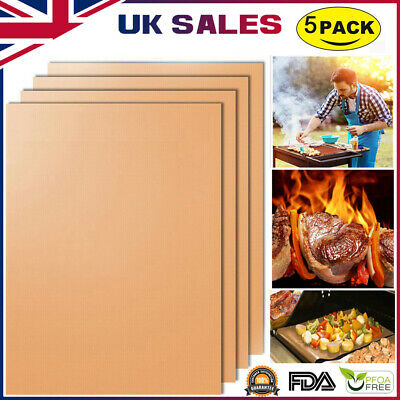 5x/2x BBQ Grill Cooking Mat Teflon Reusable Sheet Resistant Non-Stick Barbecue