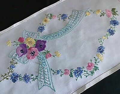 Gorgeous Vintage Hand Embroidered Tray Cloth ~ Anemones/Cornflowers/Sweet Peas
