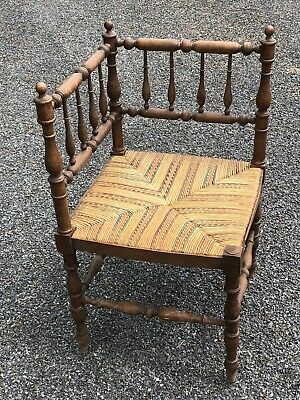 French Corner Chair Bobbin Antique Vintage Wood Turned Rush Seat Fireside Vienne