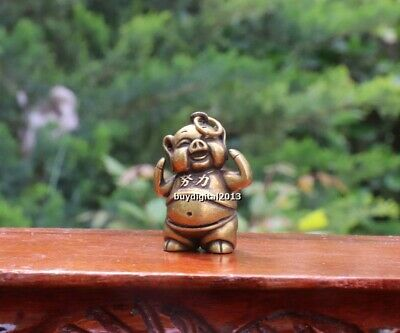 4 cm Bronze China Zodiac Animal try hard Pig Hog Swine Sculpture Amulet Pendant