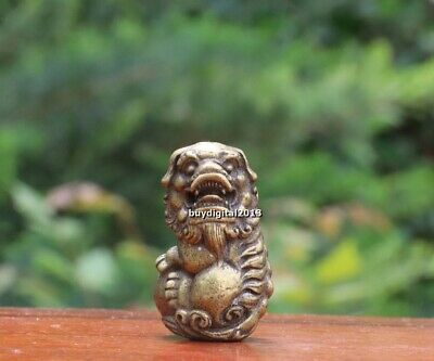 4 CM Chinese  Pure Bronze Foo Dog Lion Beast Animal Play Ball Amulet Sculpture