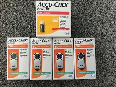 Accu-Chek Mobile Cassette 200 Tests 4 Boxes of 50 Tests 204 fastclix lancets