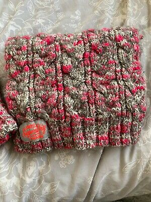 Superdry Hat And Scarf Set Pink And Grey