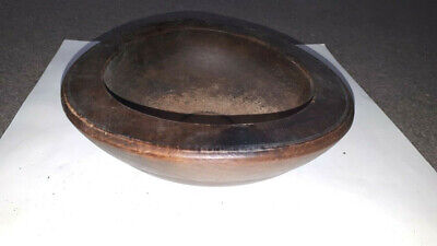 19s OLD ANTIQUE WOODEN PRIMITIVE HAND CARVED ROUND BOWL CUP PLATE natural patina
