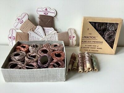 COLLECTION OF VINTAGE 1930s SILK & COTTON MENDING DARNING THREAD