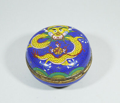 Antique Chinese Qing Dynasty Dragon Cloisonne Brass Trinket Box