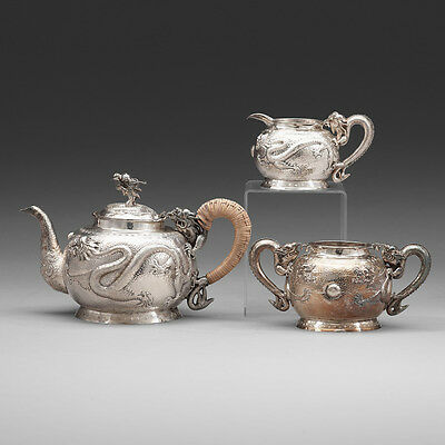 960 Grams Antique Chinese Export Sterling Silver Tea Pot Teapot Or Coffee Set