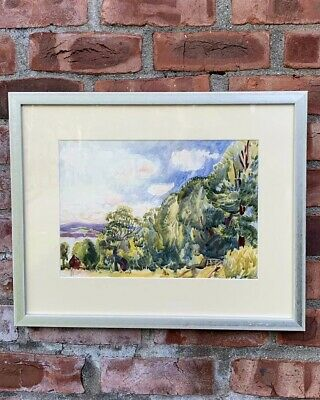 Circa 1930's Vermont Landscape With Lake By Richard Hayley Lever. Signed
