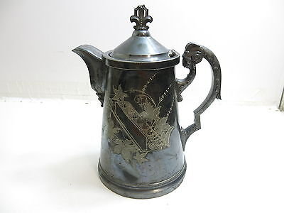 Antique 1883 Presentation Silver Plated Ornate Ram Head Handle Decorated Pitcher