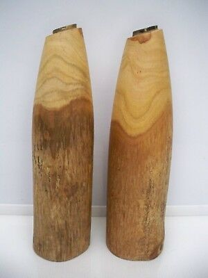 Pair Of Rustic Solid Teak Oblong Candle Holders
