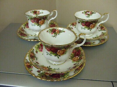 Royal Albert Old Country Roses 3 Tea Trios,Cup,Saucer,Plates